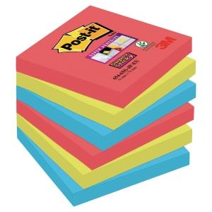 POST IT SUPER STICKY BORA BORA NOTES 76X76MM PACK OF 6