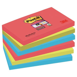 POST IT SUPER STICKY BORA BORA NOTES 76X127MM PACK OF 6