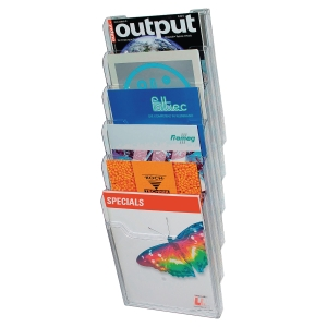 EXACOMPTA WALL LITERATURE HOLDER, 155X239X665MM A4 VERTICAL, 6 POCKETS - CLEAR
