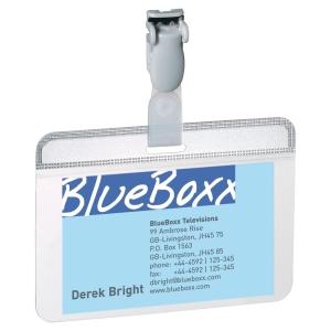 DURABLE SELF-LAMINATING BADGES 54 X 90MM - PLASTIC CLIP - BOX OF 25