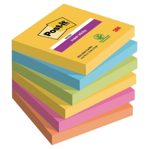 POST-IT SUPER STICKY NOTES 76X76MM RIO DE JANEIRO COLOUR PK6