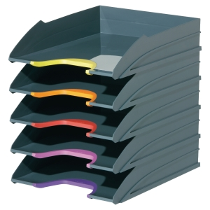 PACK OF 5 DURABLE 770557 VARI-COLOUR LETTER TRAYS