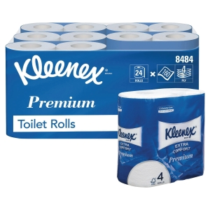 KLEENEX TOILET TISSUE ROLLS WHITE 4 PLY 160 SHEET - PACK OF 24