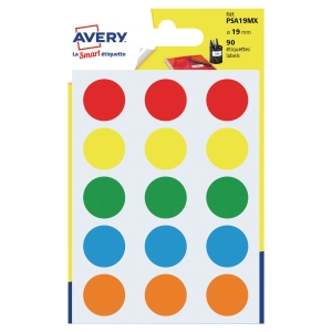 PACK90 AVERY PSA19MX DOT LABEL DIA19MM ASSORTED