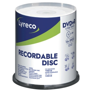 LYRECO DVD+R 4.7GB 1-16X SPINDLE OF 100