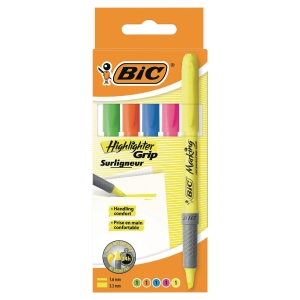 BIC GRIP HIGHLIGHTER PENS CHISEL TIP WALLET ASSORTED COLOURS - PACK OF 5
