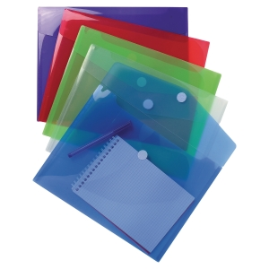 EXACOMPTA PP ENVELOP POCKET, A4, HOOK & LOOP - ASSORTED COLOURS, BAG OF 5
