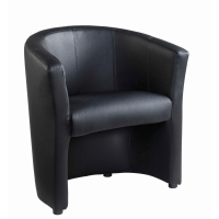 LONDON BLACK FAUX LEATHER TUB CHAIR