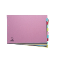 ELBA ASSORTED COLOUR A3 LANDSCAPE 10 PART DIVIDERS 160GSM