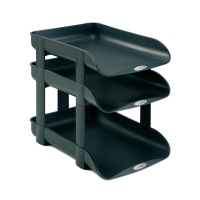ACCO REXEL AGENDA2 BLACK LETTER TRAY RISERS - PACK OF 4