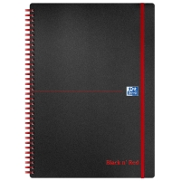 BLACK N RED A4 ELASTIC PP NOTEBOOK RULED 90GSM - 70 SHEETS