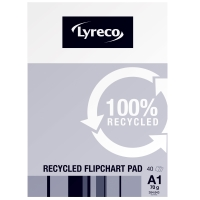 LYRECO A1 RECYCLED FLIPCHART PADS - PACK OF 5 (5 X 40 SHEETS)