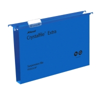 REXEL CRYSTALFILE BLUE FOOLSCAP PP SUSPENSION FILES 30MM BASE - BOX OF 25