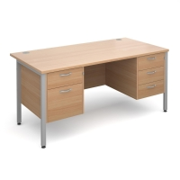 MODULAR H FRAME DESK WITH 2 AND 3 DRAWER FIXED PEDESTAL BEECH