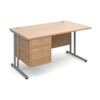 MODULAR C FRAME STRAIGHT DESK WITH 2 DRAWER FIXED PEDESTAL BEECH