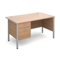 MODULAR H FRAME DESK WITH 2 DRAWER FIXED PEDESTAL BEECH