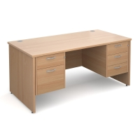 PANEL ENDED H FRAME MODULAR DESK WITH FIXED 2 AND 3 DRAWER PEDESTAL BEECH