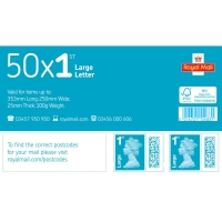 1ST CLASS LARGE LETTER POSTAGE STAMPS - PACK OF 50