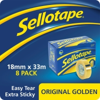SELLOTAPE GOLDEN TAPE 18MMX33M CLEAR - PACK OF 8