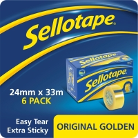 SELLOTAPE GOLDEN TAPE 24MMX33M CLEAR - PACK OF 6