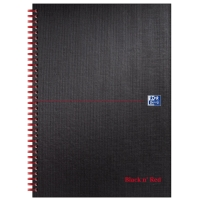 BLACK N RED MATT NOTEBOOKS A4 RULED AND PERFORATED - PACK OF 5