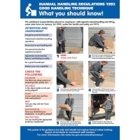 MANUAL HANDLING REGULATIONS POSTER 420 X 595MM