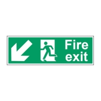 FIRE EXIT DOWN LEFT SIGN 450 X 150MM PP