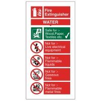 WATER EXTINGUISHER SIGN 100 X 200MM VINYL