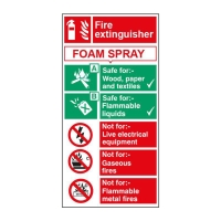 FOAM EXTINGUISHER SIGN 100 X 200MM VINYL
