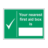 NEAREST FIRST AID BOX SIGN 200 X 150MM VINYL