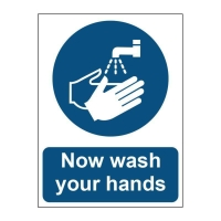 WASH HANDS SIGN 150 X 200MM VINYL