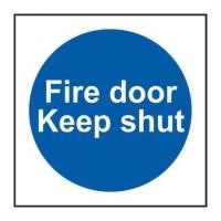 FIRE DOOR KEEP SHUT SIGNS 100 X 100MM PP - PACK OF 5