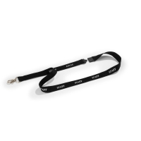 DURABLE PRINTED   STAFF   TEXTILE NECKLACE BLACK - PACK OF 10