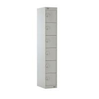 STEEL LOCKER 1800H x 300W x 450D, 6-DOOR GREY