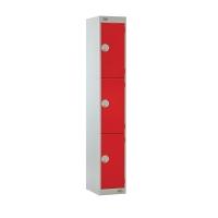 LOCKER 1800H x 300W x 450D, 3-DOOR, red