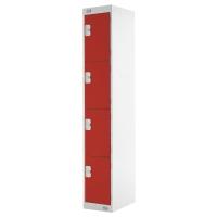 LOCKER 1800H x 300W x 450D, 4-DOOR, red