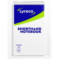 LYRECO WHITE 8 X 5INCH SHORTHAND NOTEBOOKS (RULED) - PACK OF 10 (10X150 SHEETS)