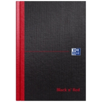 BLACK N  RED A5 RULED MANUSCRIPT BOOK - 96 SHEETS