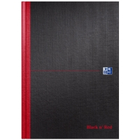 BLACK N  RED A4 RULED MANUSCRIPT BOOK - 96 SHEETS