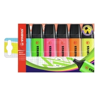 STABILO BOSS ASSORTED COLOUR HIGHLIGHTERS - WALLET OF 6