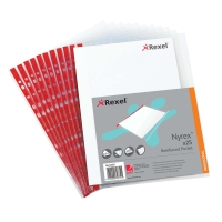 REXEL NYREX RED SPINE A4 SIDE OPEN PUNCHED POCKETS 90 MICRON - PACK OF 25