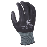 PU COATED GLOVES BLACK/GREY SIZE 8 (PAIR)
