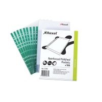 REXEL NYREX GREEN SPINE A4 PUNCHED POCKETS 75 MICRON - PACK OF 100