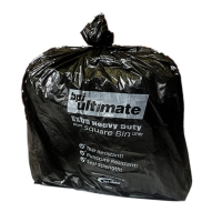 BLACK 15 X 24 X 24  HEAVY DUTY SQUARE BIN LINER - PACK OF 5 ROLLS OF 100 CHSA