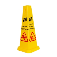 YELLOW 90CM POLYPROPYLENE WET FLOOR WARNING CONE