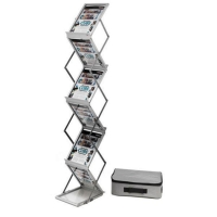 DEFLECTO FOLDING FLOOR STAND 6XA4 PORTRAIT SILVER