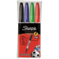 SHARPIE FINE MARKER ASSORTED COLORS - WALLET OF 4