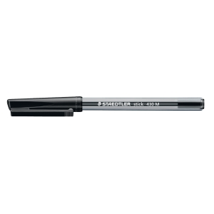 STAEDTLER STICK 430 BALL POINT BLACK PENS 0.7MM LINE WIDTH - BOX OF 10