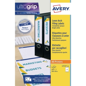 AVERY L7171-25 FILING LABELS, 200 X 60 MM, PERMANENT, 4 LABELS PER SHEET