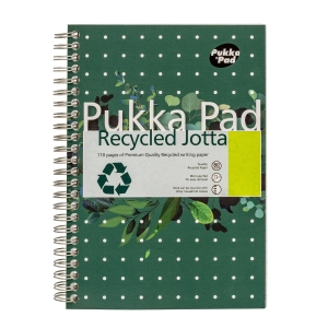 PUKKA WHITE A5 RECYCLED WIREBOUND PADS (RULED/MARGIN) - PACK OF 5 (5X55 SHEETS)